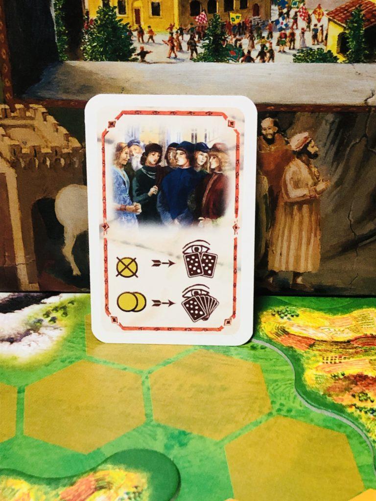 ボードゲーム『ラチッタ』で使用するカードの一つ「市民への接近」