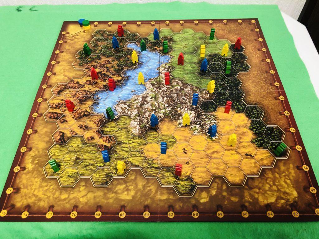 ボードゲーム『テラノバ』のセットアップ画像。