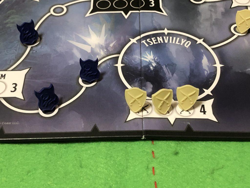 タイランツオブジアンダーダークの盤面の画像。ルール説明