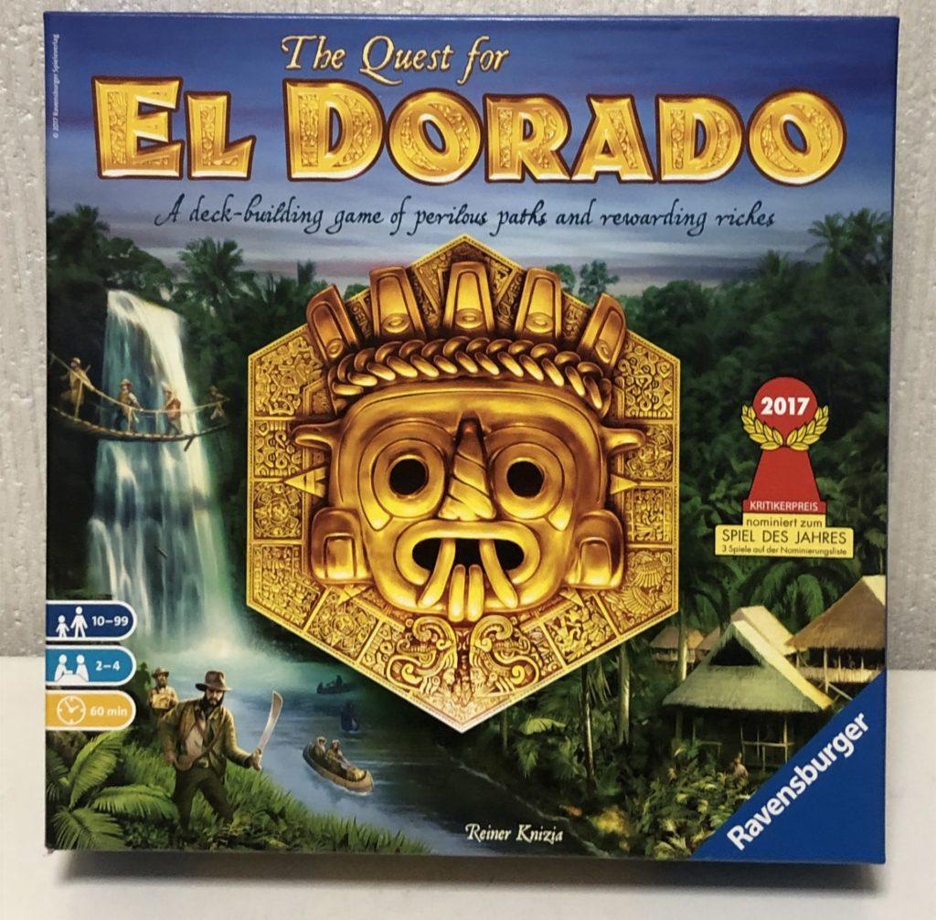 ボードゲーム『エルドラド』の箱絵画像。ジャングル探検隊と古代遺跡のシンボルが描かれたイラスト