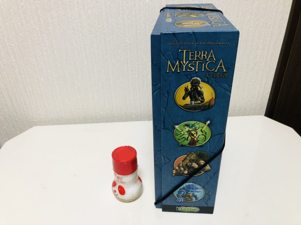 テラミスティカの箱を横から移した画像。大きさ比較の調味料と共に